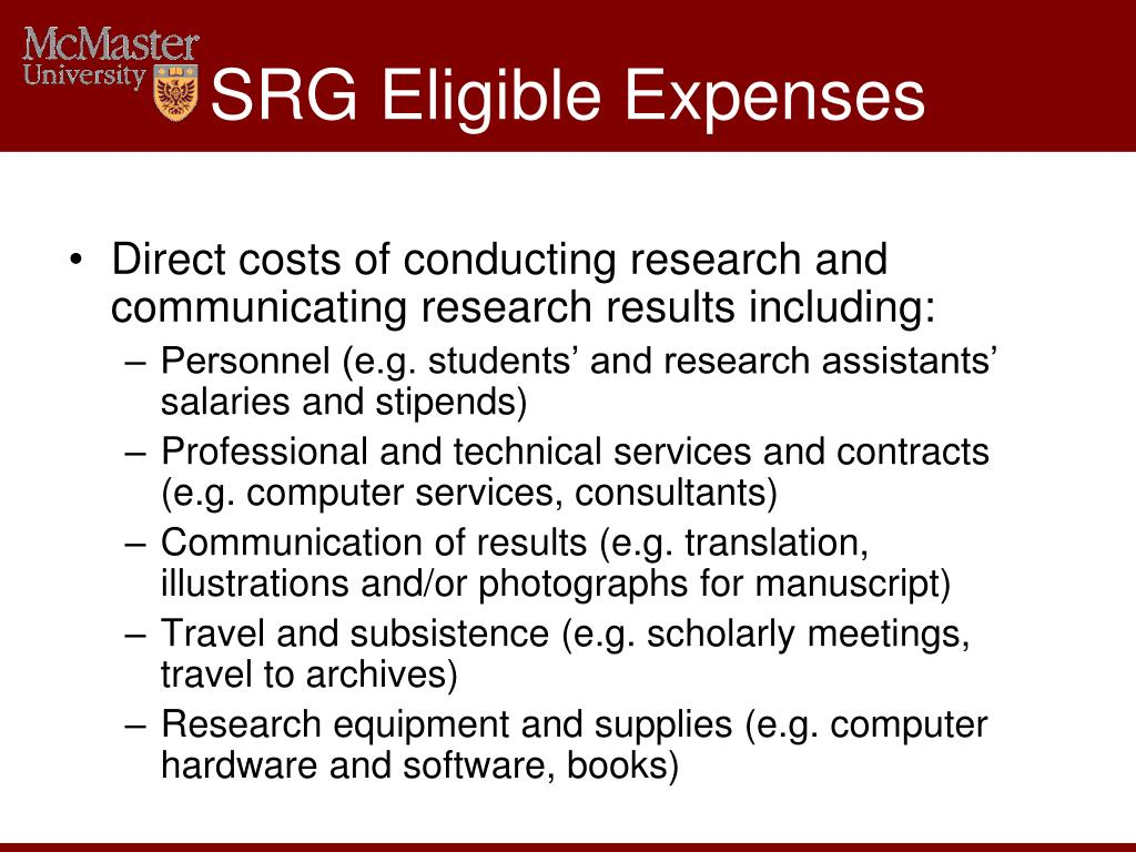 SRG Eligible Expenses