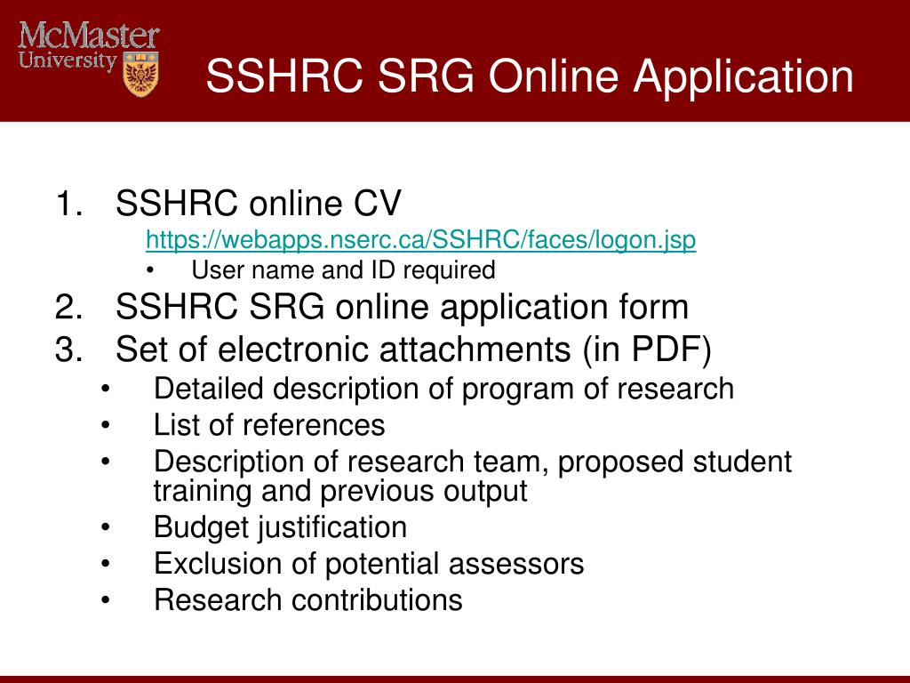 SSHRC SRG Online Application