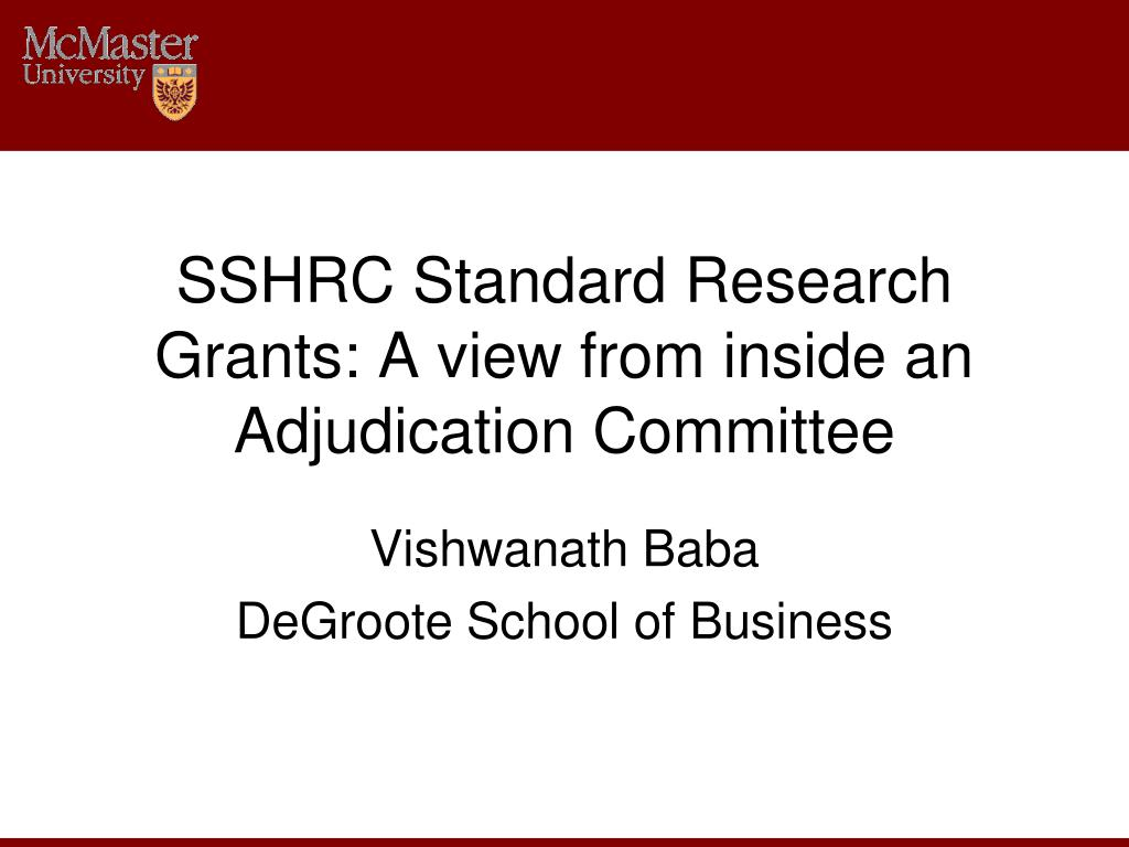 SSHRC Standard Research Grants: A view from inside an Adjudication Committee