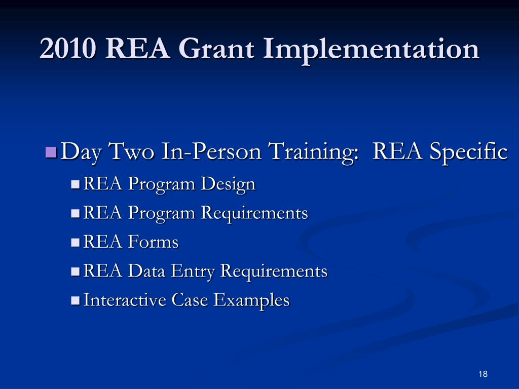 2010 REA Grant Implementation