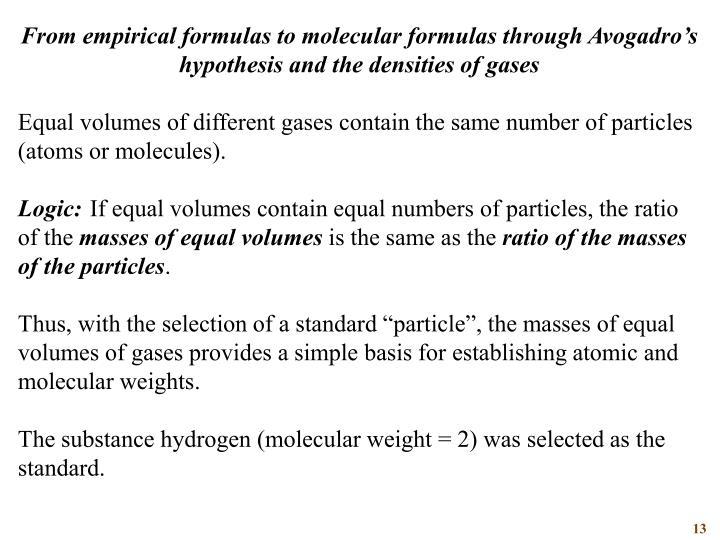 From empirical formulas to molecular formulas through Avogadro's hypothesis and the densities of gases