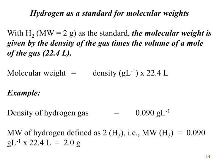 Hydrogen as a standard for molecular weights