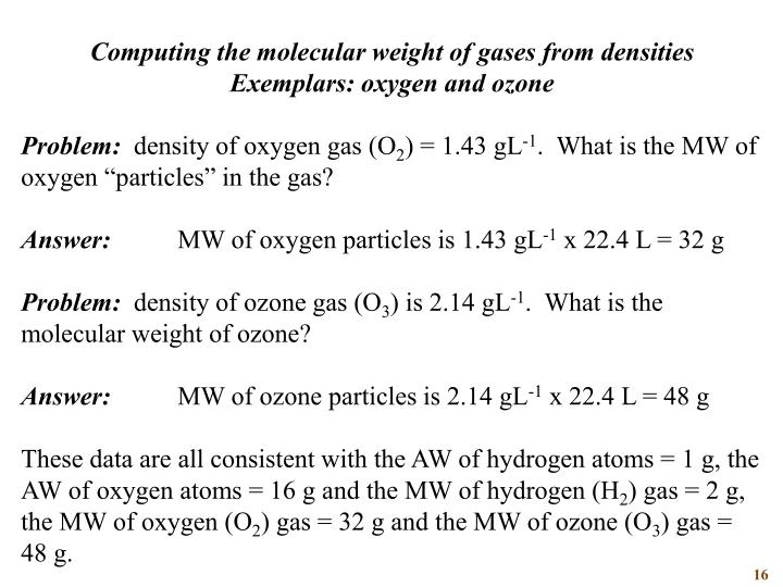 Computing the molecular weight of gases from densities