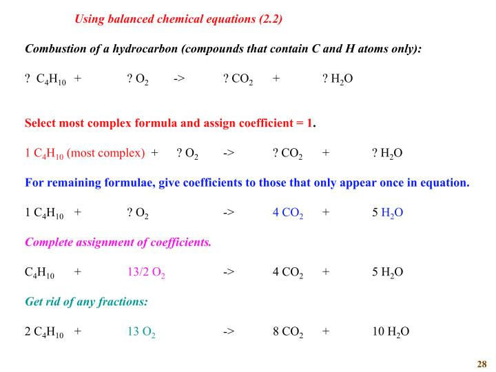 Using balanced chemical equations (2.2)