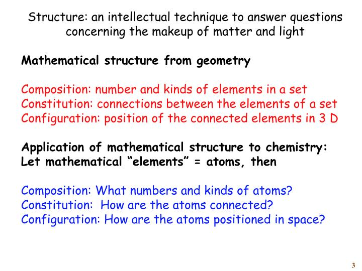 Structure: an intellectual technique to answer questions concerning the makeup of matter and light