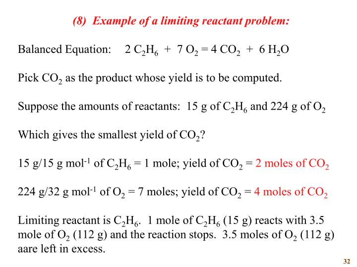 (8)  Example of a limiting reactant problem: