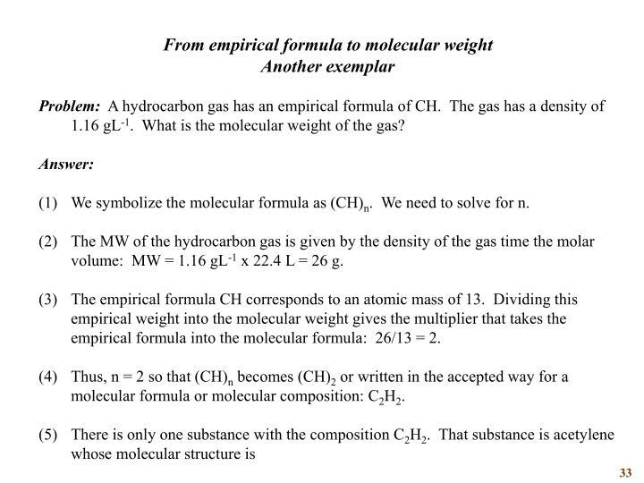 From empirical formula to molecular weight