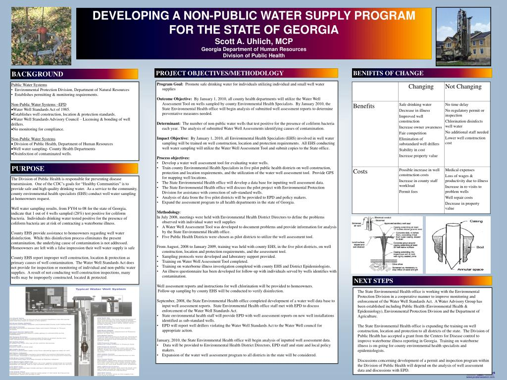 DEVELOPING A NON-PUBLIC WATER SUPPLY PROGRAM