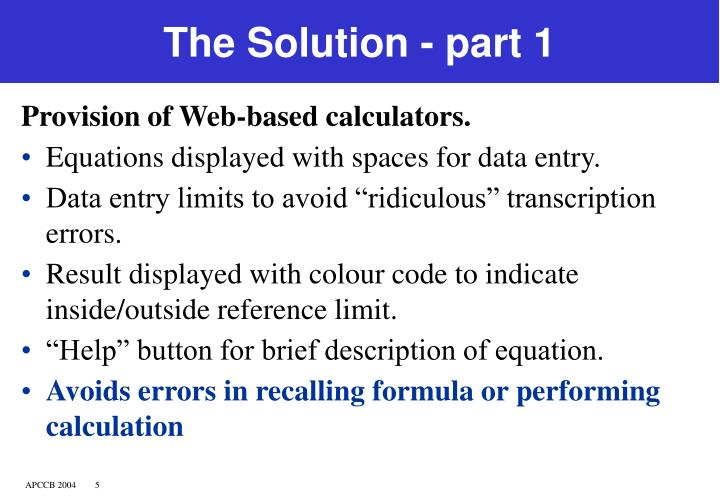 The Solution - part 1