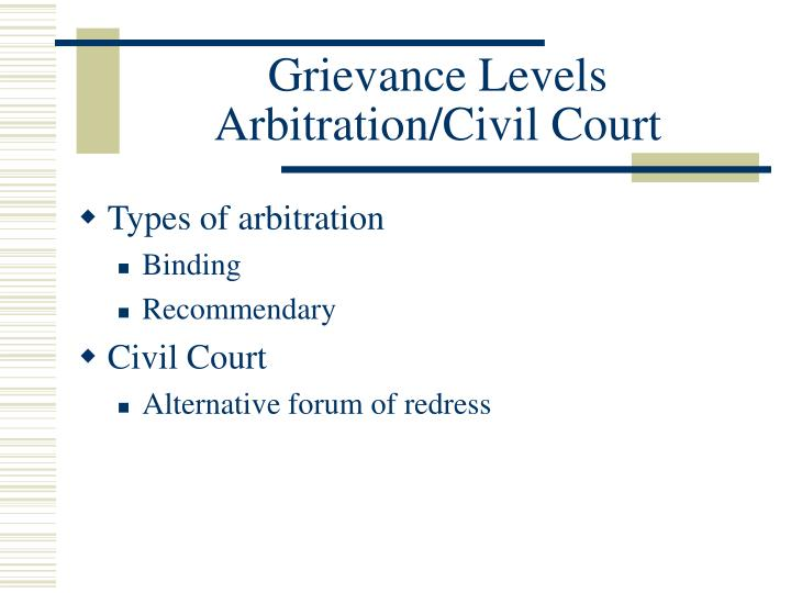 grievance handling arbitration Rights arbitration (aka grievance various legislatures require that the parties who enter into a collective agreement set out a procedure for the handling of.