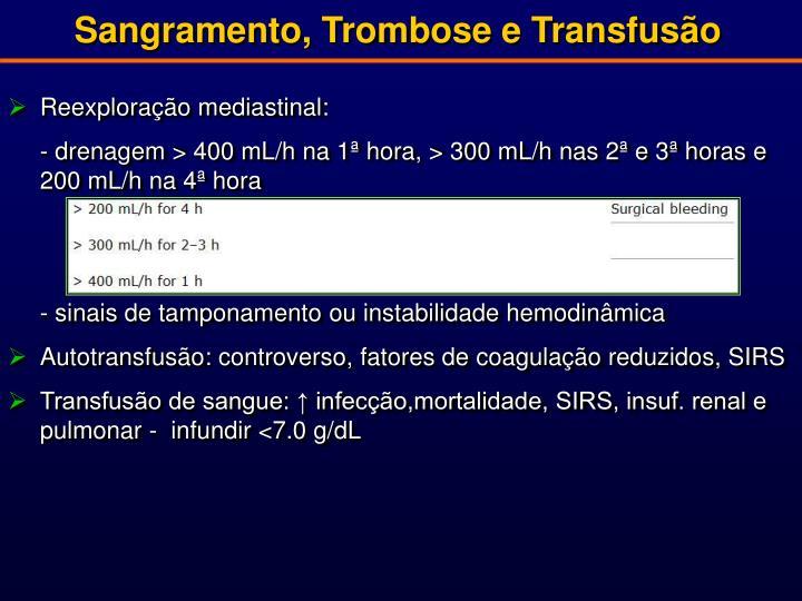 Sangramento, Trombose e Transfusão