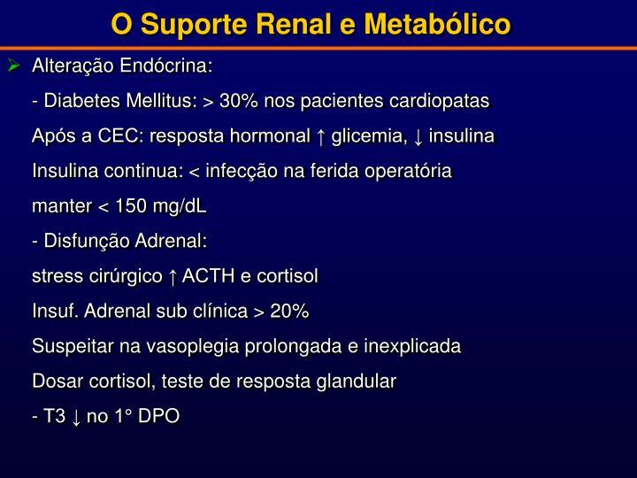 O Suporte Renal e Metabólico