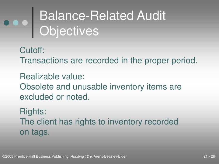 objectives in the audit of inventories 6 preparation question: in the table below, match the list of transaction related audit objectives (traos) and balance related audit objectives (braos) with the.