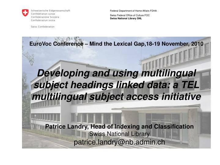Eurovoc conference mind the lexical gap 18 19 november 2010