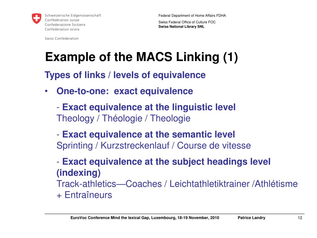 Example of the MACS Linking (1)