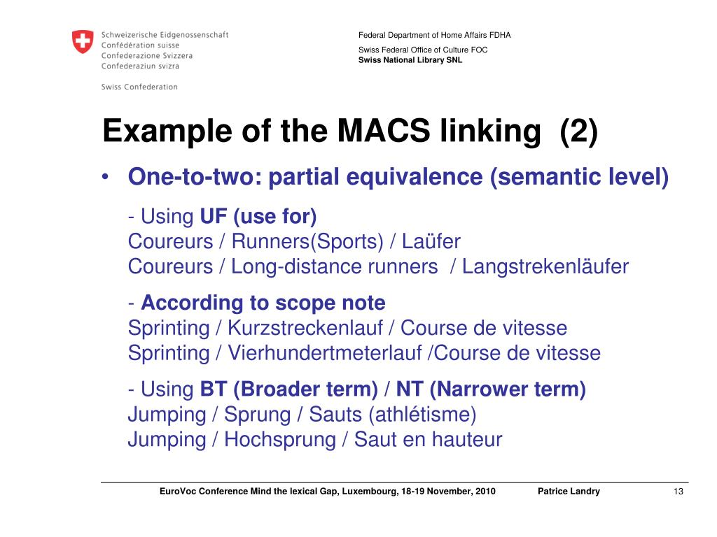 Example of the MACS linking  (2)