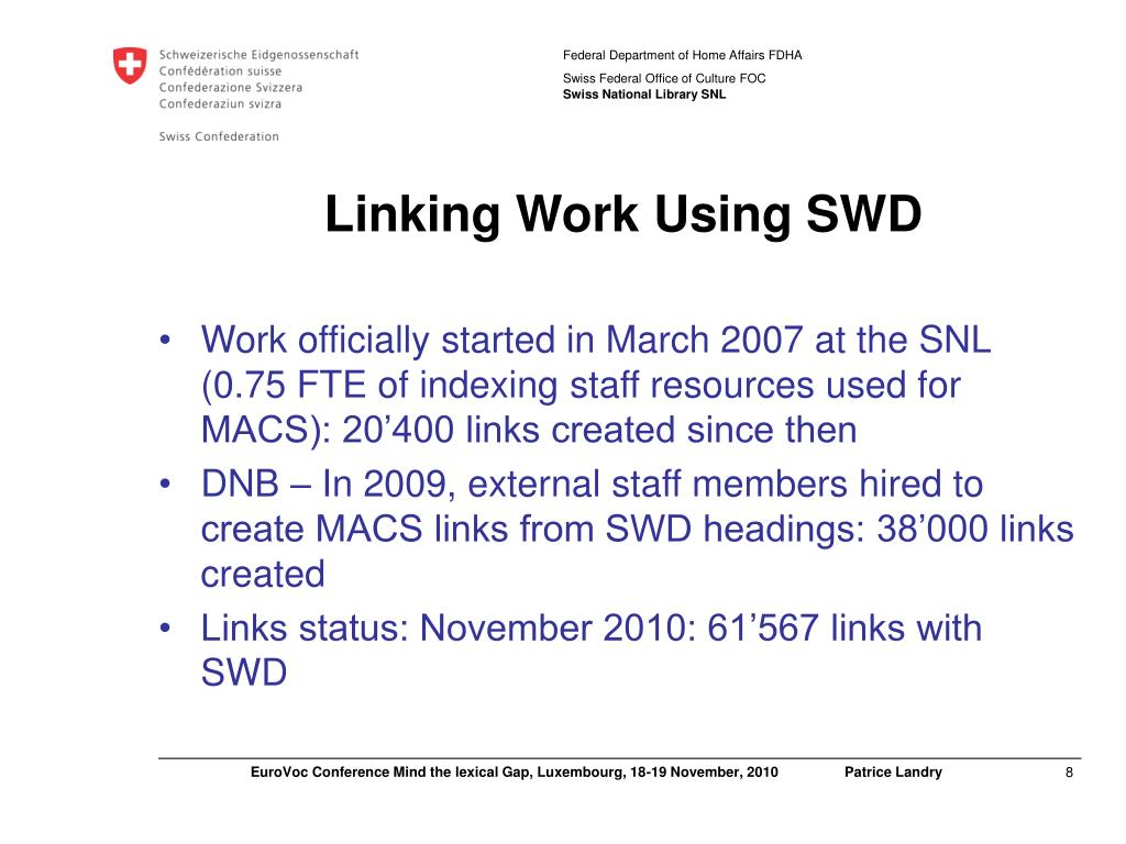 Linking Work Using SWD
