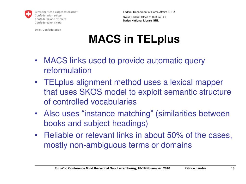 MACS in TELplus