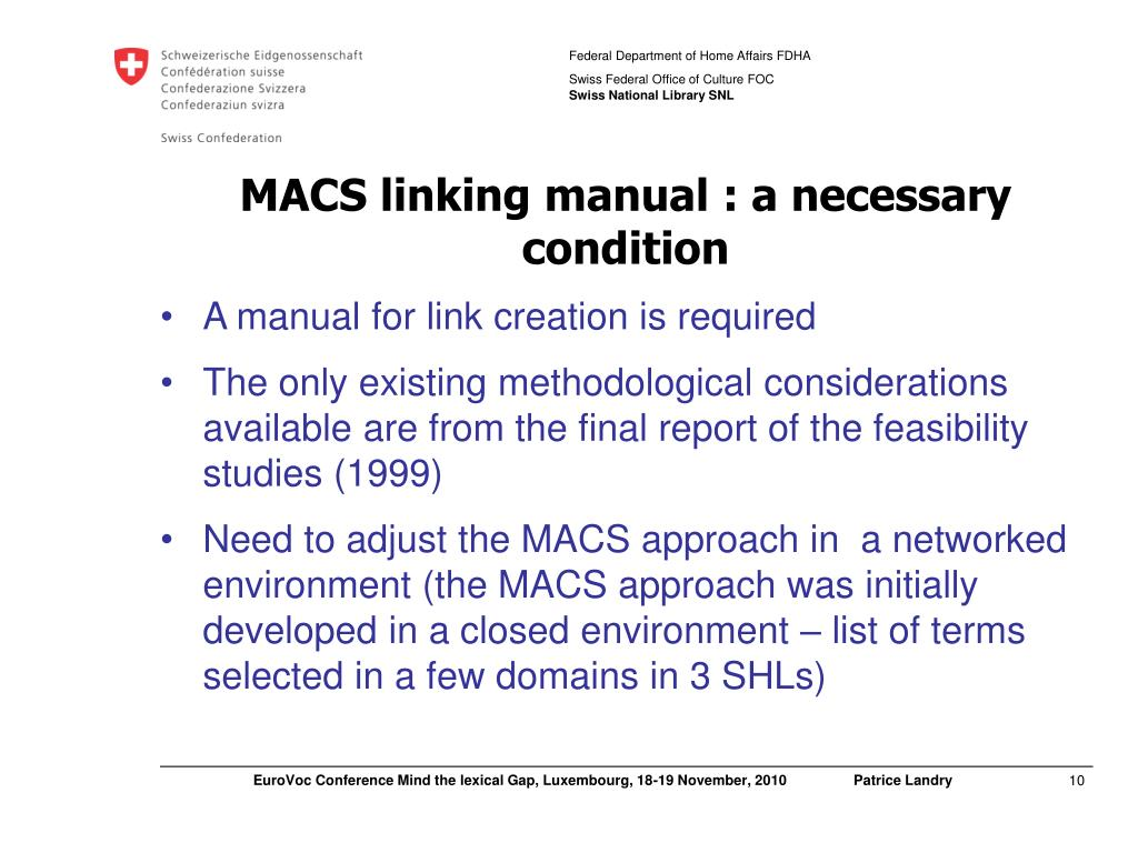 MACS linking manual : a necessary condition