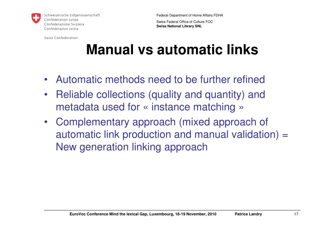Manual vs automatic links