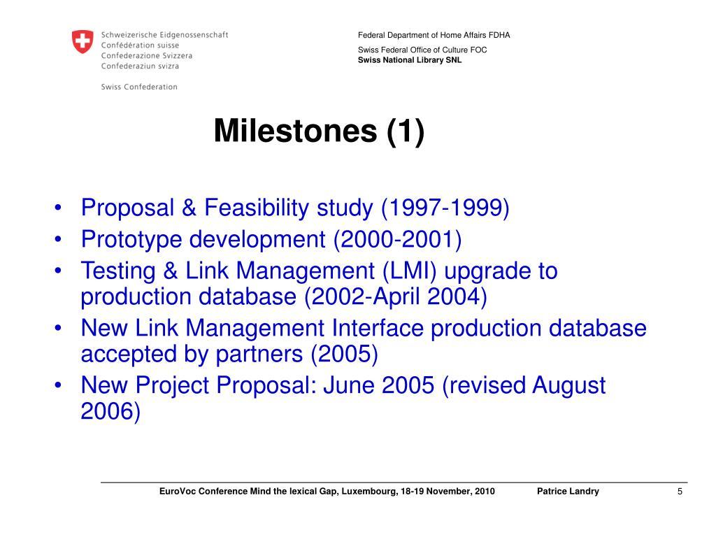 Milestones (1)