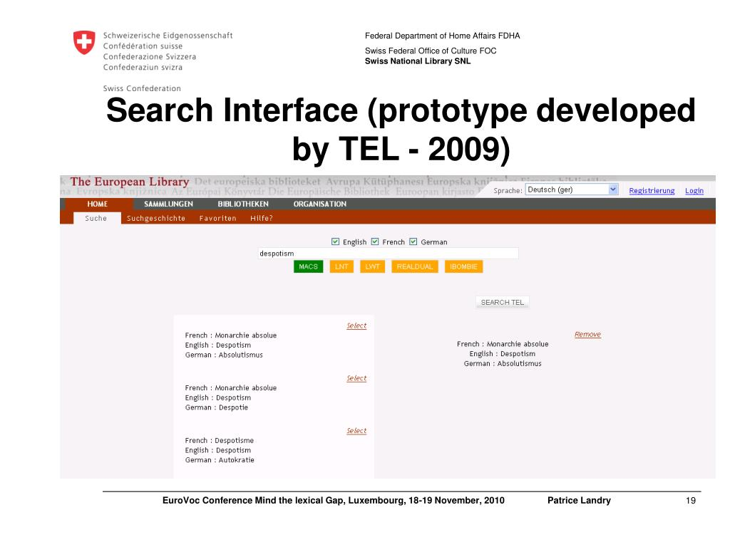 Search Interface (prototype developed by TEL - 2009)
