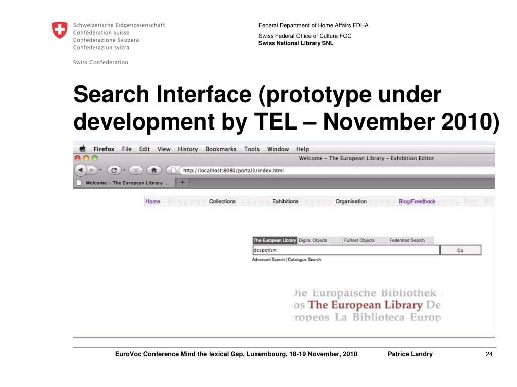 Search Interface (prototype under development by TEL – November 2010)