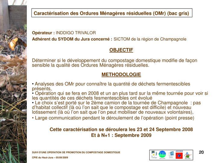 Caractérisation des Ordures Ménagères résiduelles (OMr)