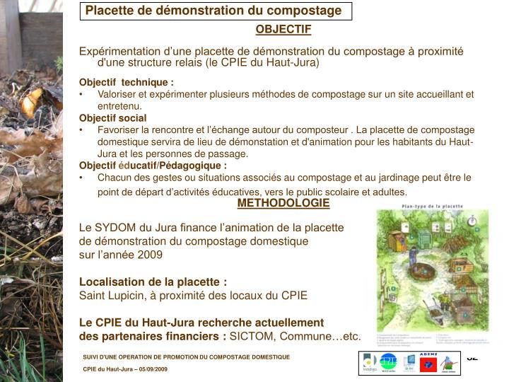 Placette de démonstration du compostage