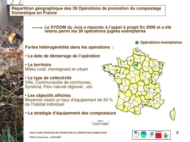 Répartition géographique des 39 Opérations de promotion du compostage