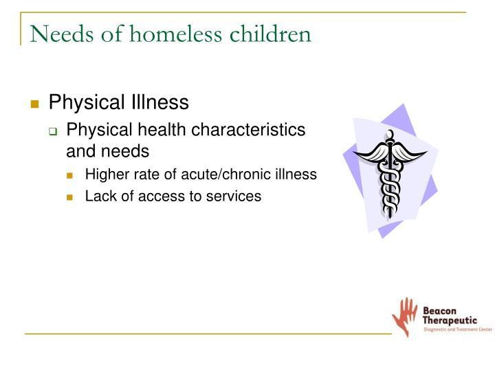 Needs of homeless children