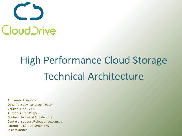 High performance cloud storage technical architecture l.jpg
