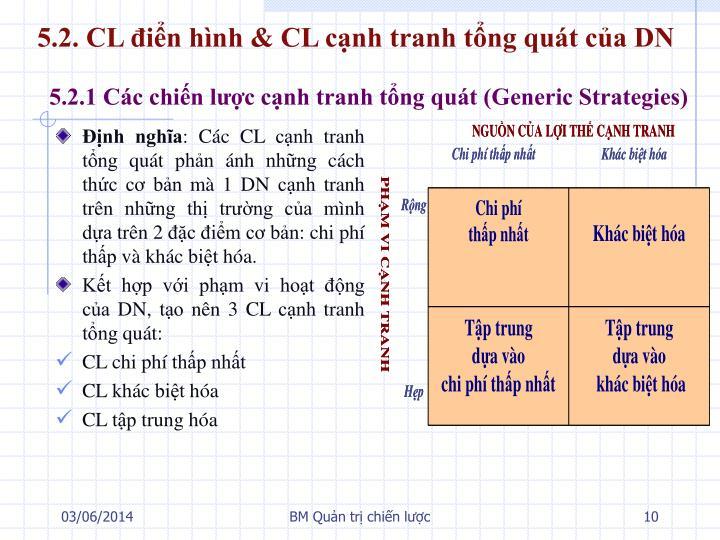 5.2. CL điển hình & CL cạnh tranh tổng quát của DN
