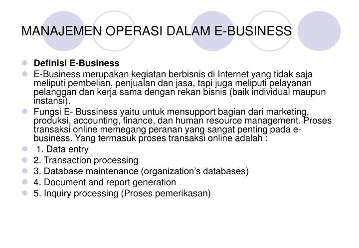 MANAJEMEN OPERASI DALAM E-BUSINESS