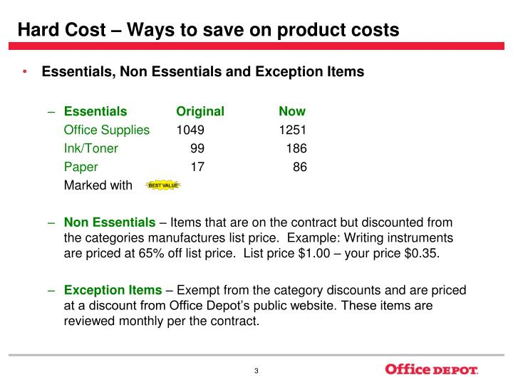 Hard cost ways to save on product costs l.jpg