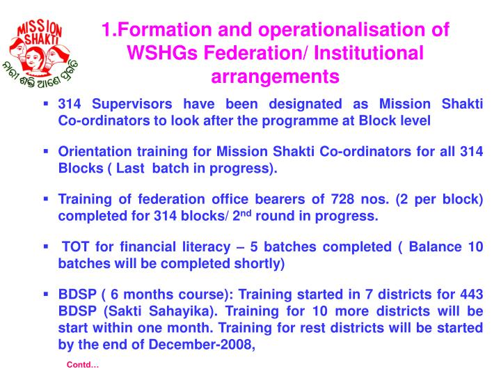 1.Formation and operationalisation of WSHGs Federation/ Institutional arrangements