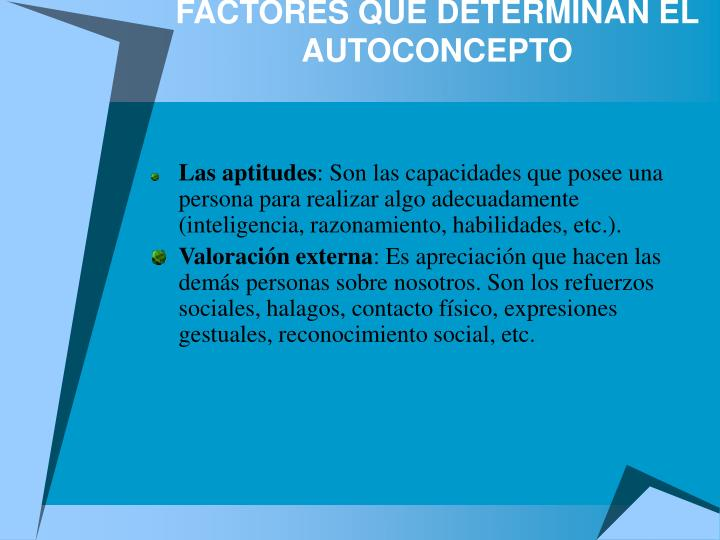 FACTORES QUE DETERMINAN EL AUTOCONCEPTO