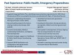 past experience public health emergency preparedness