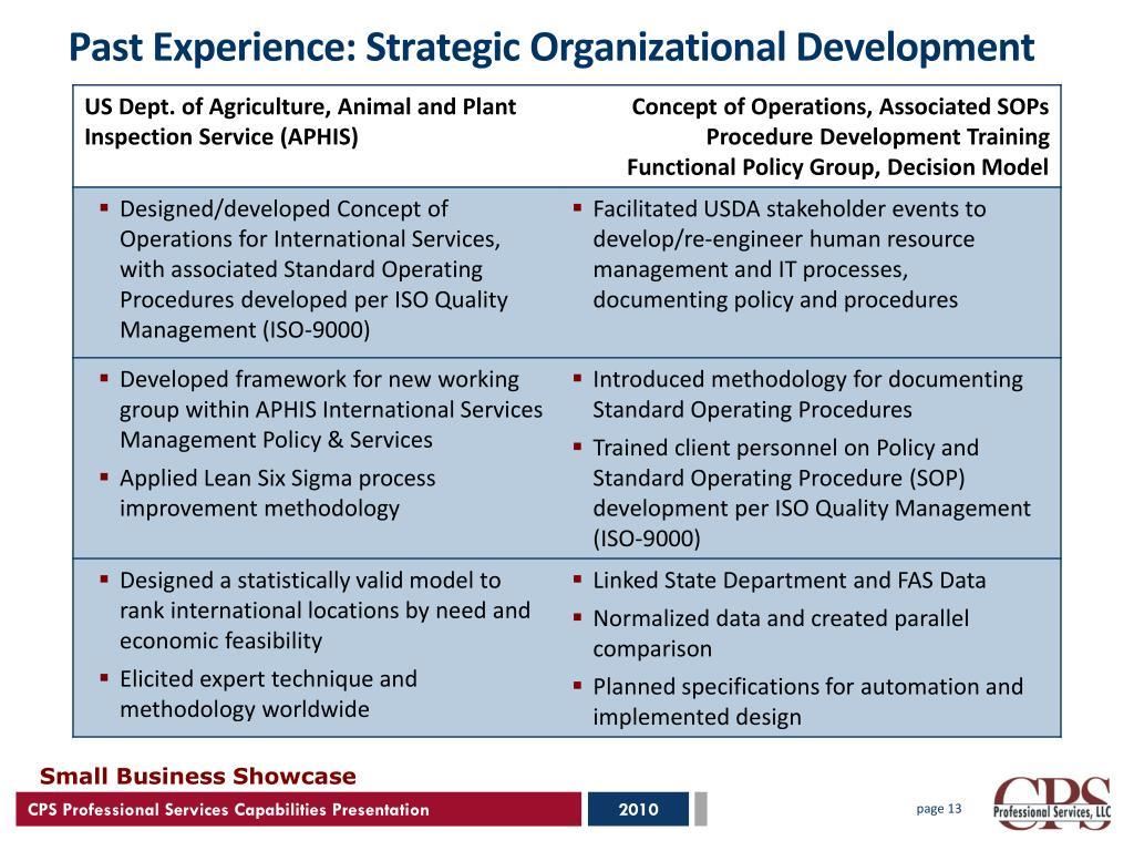 Past Experience: Strategic Organizational Development