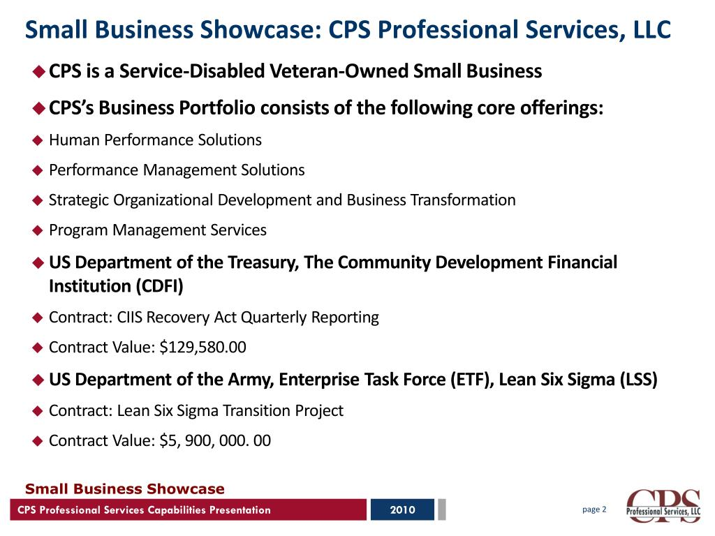 Small Business Showcase: CPS Professional Services, LLC