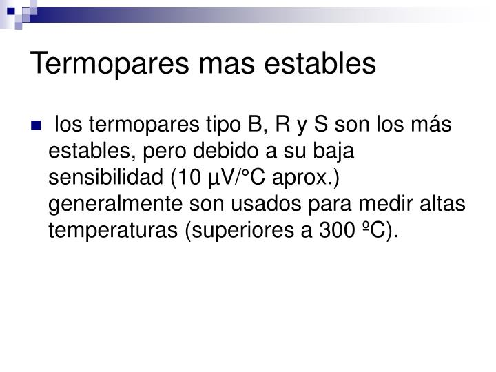 Termopares mas estables