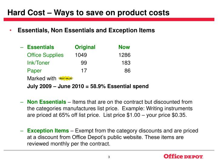 Hard cost ways to save on product costs