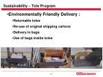 sustainability tote program