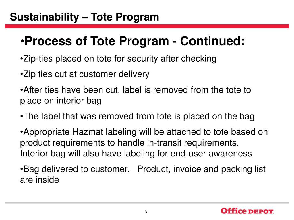 Sustainability – Tote Program