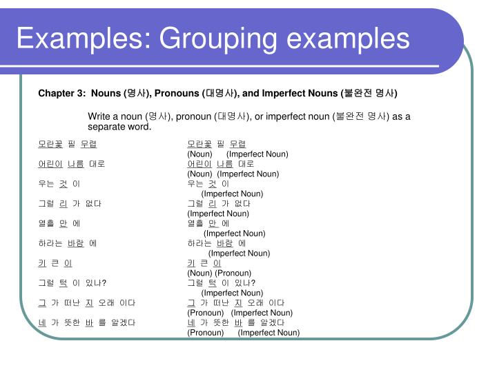 Examples: Grouping examples