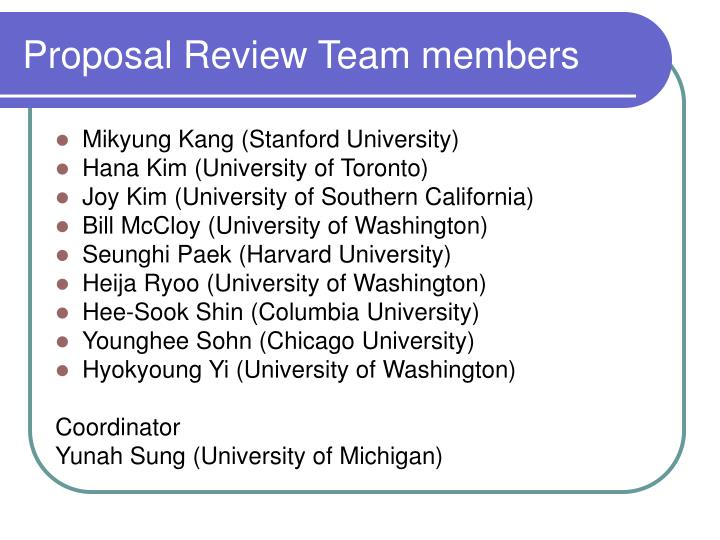 Proposal Review Team members