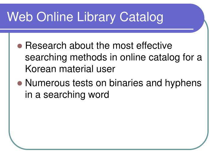 Web Online Library Catalog