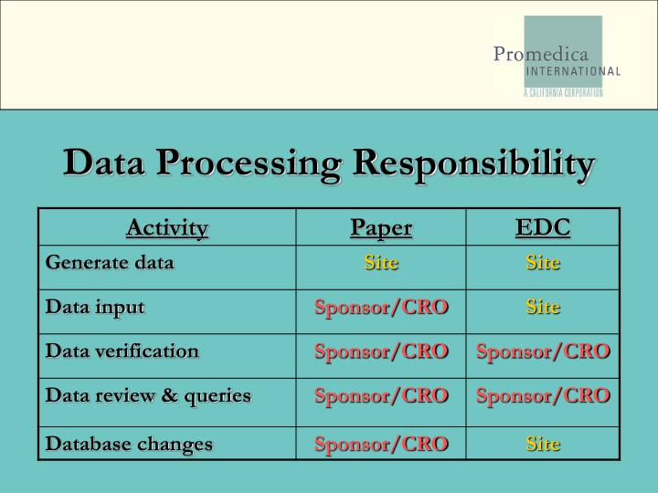 Data Processing Responsibility