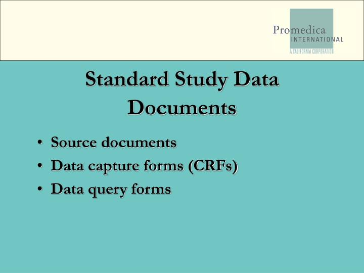 Standard Study Data Documents