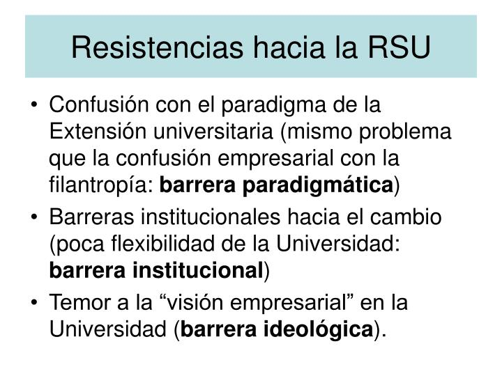 Resistencias hacia la RSU